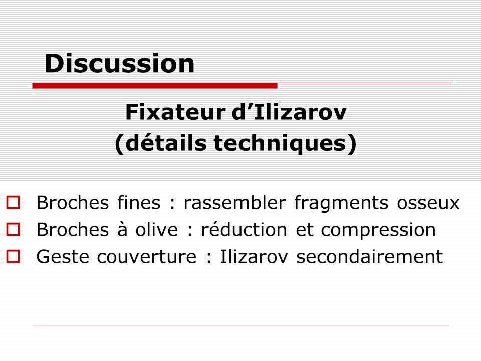 Discussion Fixateur dIlizarov (détails techniques) Broches fines : rassembler fragments osseux Broches à olive : réduction et compression Geste couverture : Ilizarov secondairement