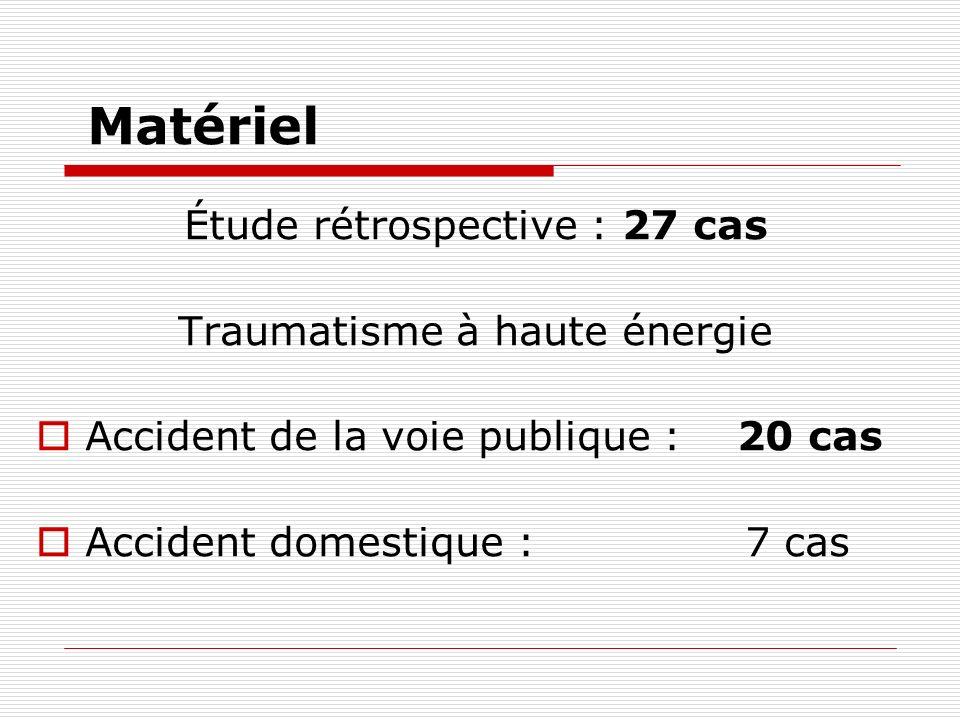 Matériel Étude rétrospective : 27 cas Traumatisme à haute énergie Accident de la voie publique : 20 cas Accident domestique : 7 cas