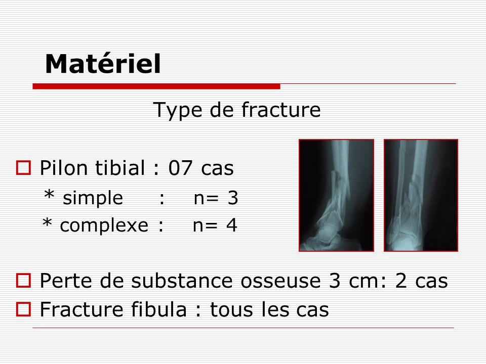 Matériel Type de fracture Pilon tibial : 07 cas * simple : n= 3 * complexe : n= 4 Perte de substance osseuse 3 cm: 2 cas Fracture fibula : tous les cas