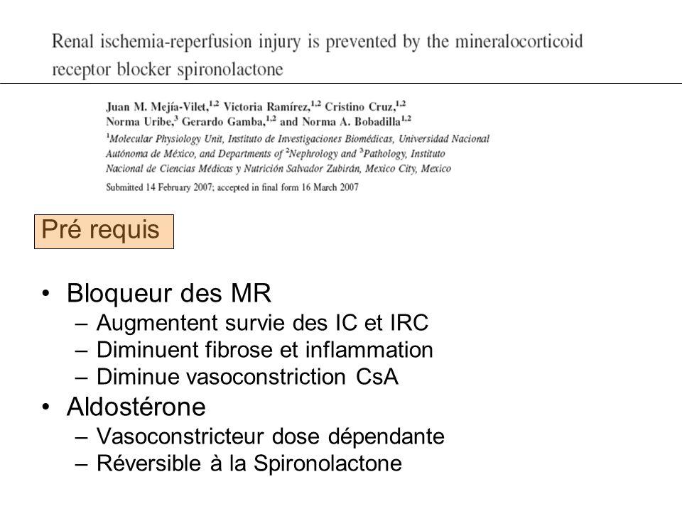 Pré requis Bloqueur des MR –Augmentent survie des IC et IRC –Diminuent fibrose et inflammation –Diminue vasoconstriction CsA Aldostérone –Vasoconstric