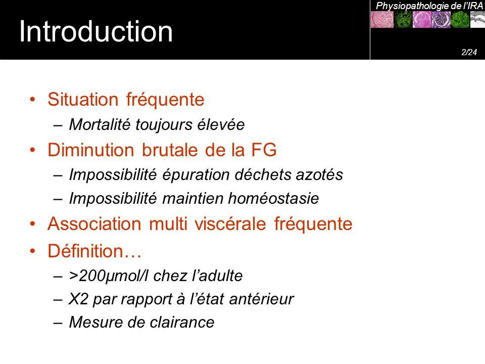 Introduction Situation fréquente –Mortalité toujours élevée Diminution brutale de la FG –Impossibilité épuration déchets azotés –Impossibilité maintie