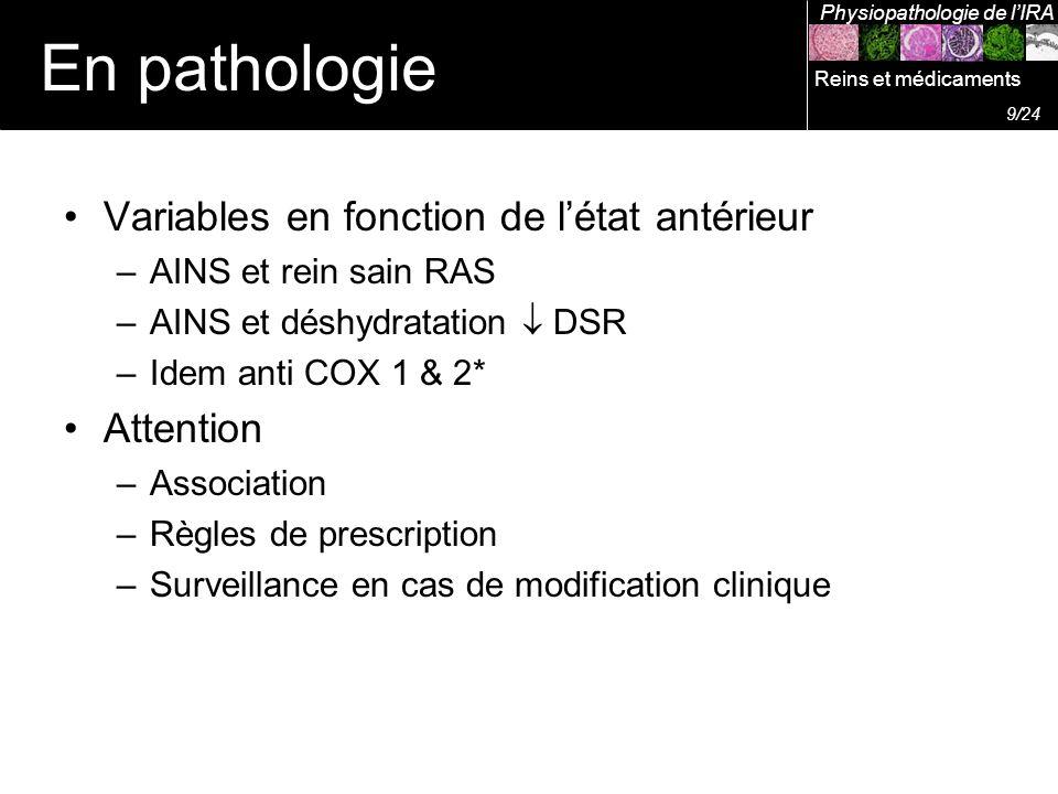 Variables en fonction de létat antérieur –AINS et rein sain RAS –AINS et déshydratation DSR –Idem anti COX 1 & 2* Attention –Association –Règles de pr