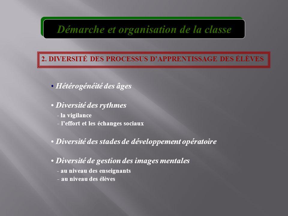 2. DIVERSITÉ DES PROCESSUS DAPPRENTISSAGE DES ÉLÈVES Hétérogénéité des âges Diversité des rythmes - la vigilance - leffort et les échanges sociaux Div