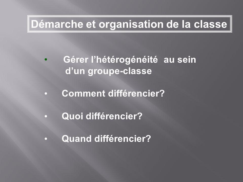Gérer lhétérogénéité au sein dun groupe-classe Comment différencier? Quoi différencier? Quand différencier? Démarche et organisation de la classe
