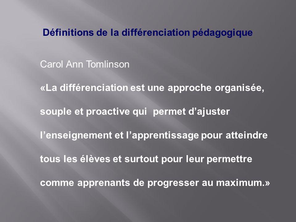 Définitions de la différenciation pédagogique Carol Ann Tomlinson «La différenciation est une approche organisée, souple et proactive qui permet dajus