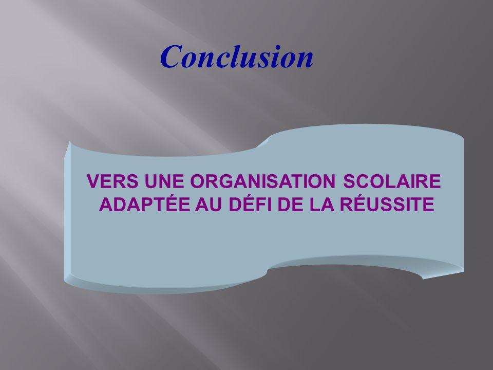 VERS UNE ORGANISATION SCOLAIRE ADAPTÉE AU DÉFI DE LA RÉUSSITE Conclusion