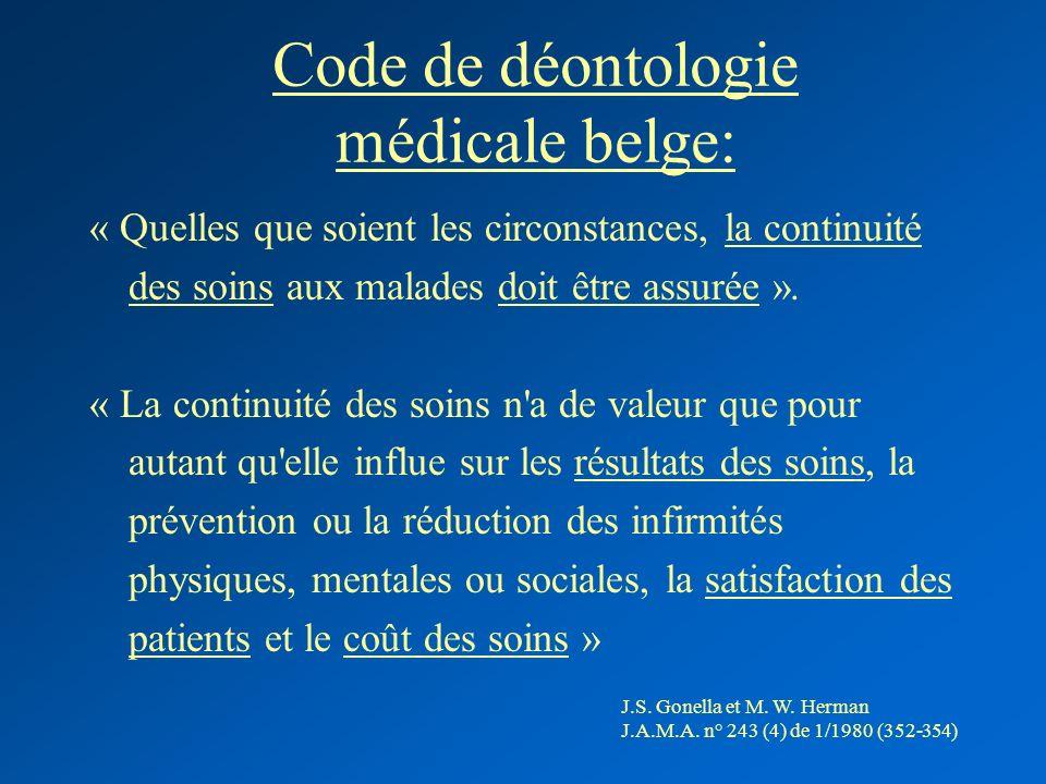 Code de déontologie médicale belge: « Quelles que soient les circonstances, la continuité des soins aux malades doit être assurée ». « La continuité d