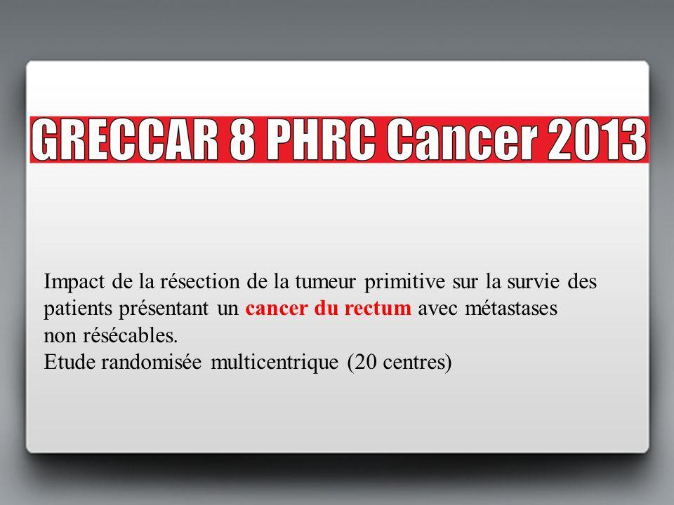 Impact de la résection de la tumeur primitive sur la survie des patients présentant un cancer du rectum avec métastases non résécables. Etude randomis