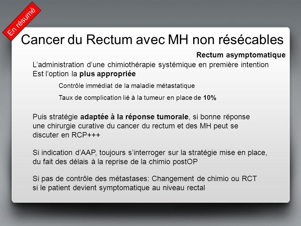 En résumé Rectum asymptomatique Cancer du Rectum avec MH non résécables Ladministration dune chimiothérapie systémique en première intention Est lopti