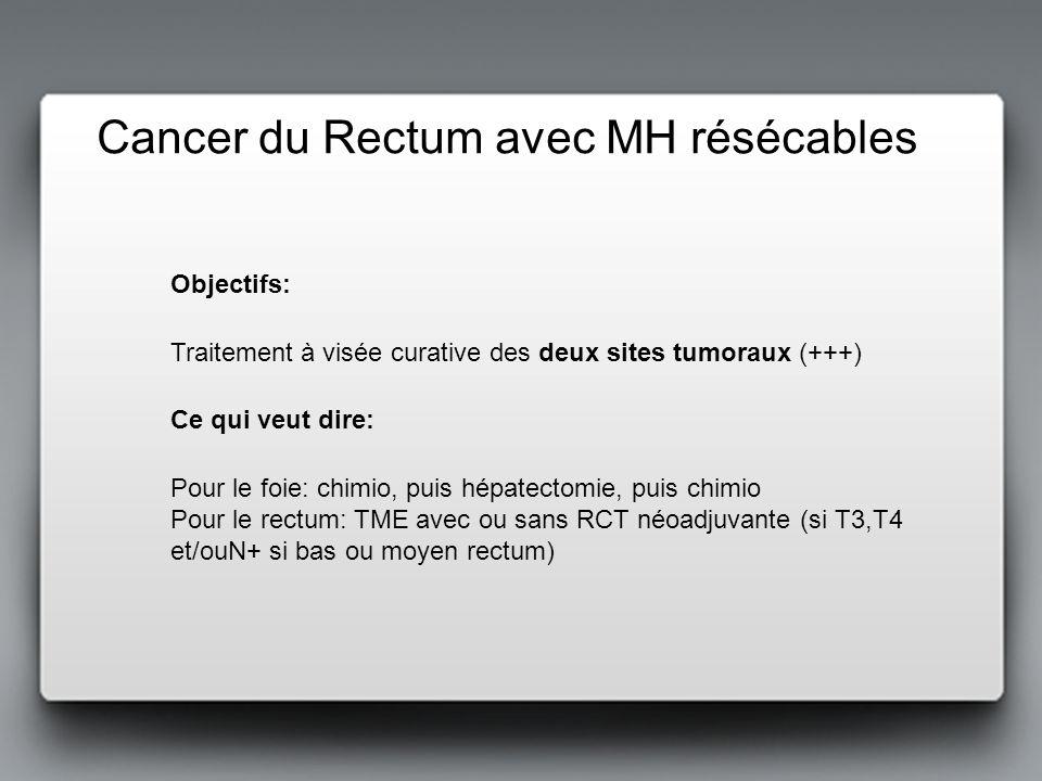Cancer du Rectum avec MH résécables Pour le foie: chimio, puis hépatectomie, puis chimio Pour le rectum: TME avec ou sans RCT néoadjuvante (si T3,T4 e