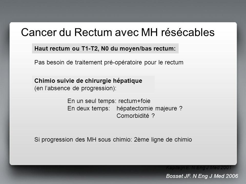 Cancer du Rectum avec MH résécables Si progression des MH sous chimio: 2ème ligne de chimio Haut rectum ou T1-T2, N0 du moyen/bas rectum: Pas besoin d