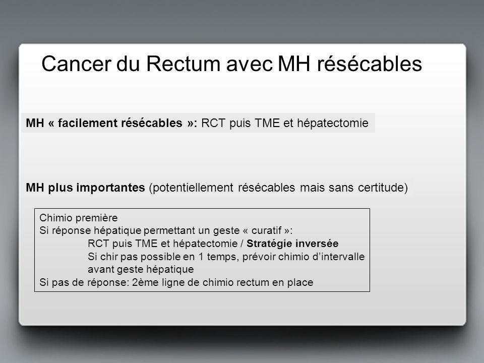 Cancer du Rectum avec MH résécables Chimio première Si réponse hépatique permettant un geste « curatif »: RCT puis TME et hépatectomie / Stratégie inv