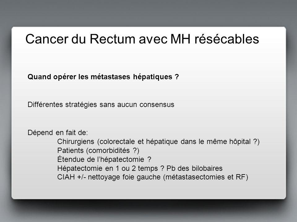 Cancer du Rectum avec MH résécables Dépend en fait de: Chirurgiens (colorectale et hépatique dans le même hôpital ?) Patients (comorbidités ?) Étendue