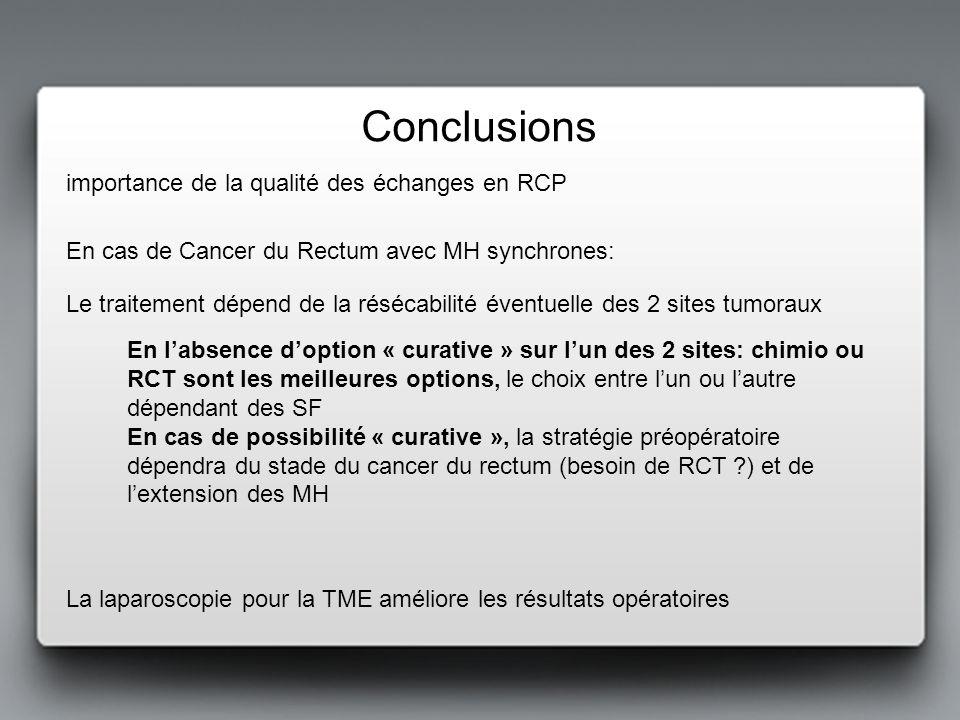 En labsence doption « curative » sur lun des 2 sites: chimio ou RCT sont les meilleures options, le choix entre lun ou lautre dépendant des SF En cas