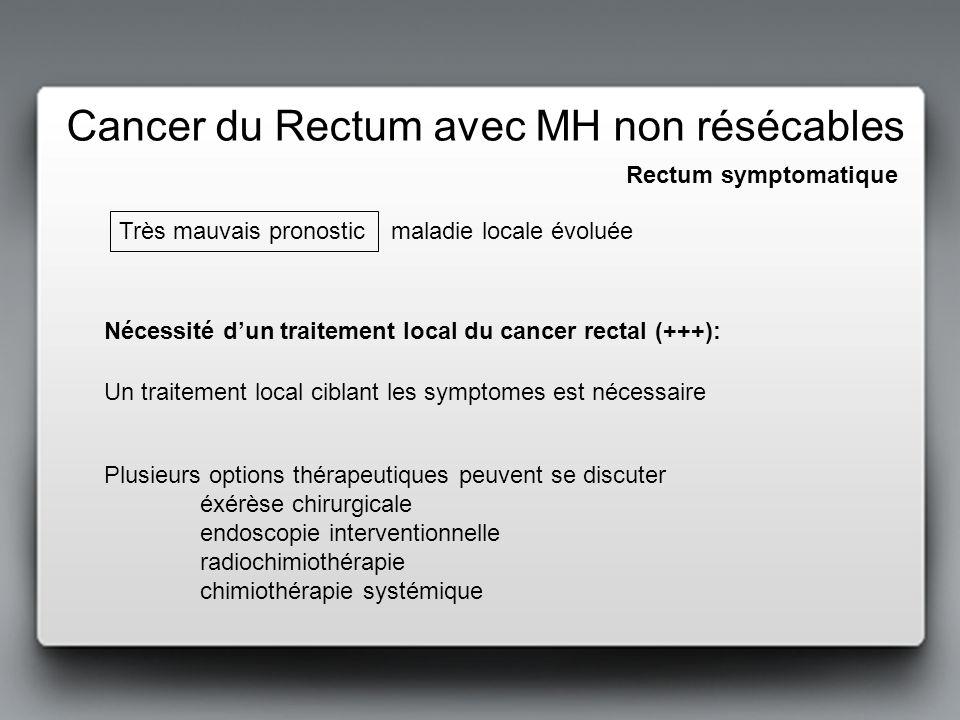 Stomie de dérivation seule :Aucun effet sur le syndrome rectal (sauf occlusion) Rectum symptomatique Options de traitement local du cancer rectal (+++): TME palliative: améliore symptômes et facilite la chimiothérapie secondaire Morbidité et mortalité élevées (2%), et risque élevé de stomie définitive (20%) RT concentrée (5x5Gy, 1 sem) ne diffère pas le geste chir (à prévoir 1 sem plus tard), et renforce le contrôle local Une RCT conventionnelle (2 drogues), permet de se faire une idée du génie évolutif de la maladie métastatique (poursuivre la chir du rectum en cas dévolution majeure ????) - + Cancer du Rectum avec MH non résécables Précédée de RT
