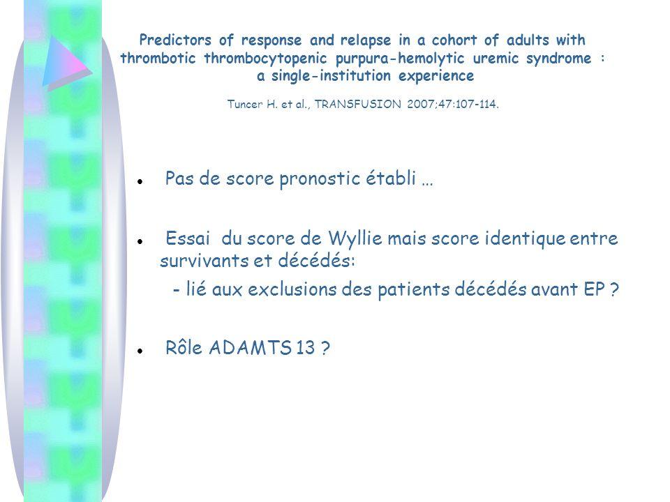 Pas de score pronostic établi … Essai du score de Wyllie mais score identique entre survivants et décédés: - lié aux exclusions des patients décédés a