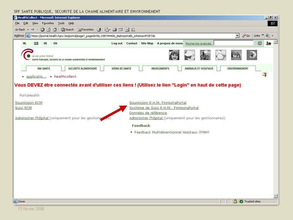 SPF SANTE PUBLIQUE, SECURITE DE LA CHAINE ALIMENTAIRE ET ENVIRONNEMENT 13 février 2008 28