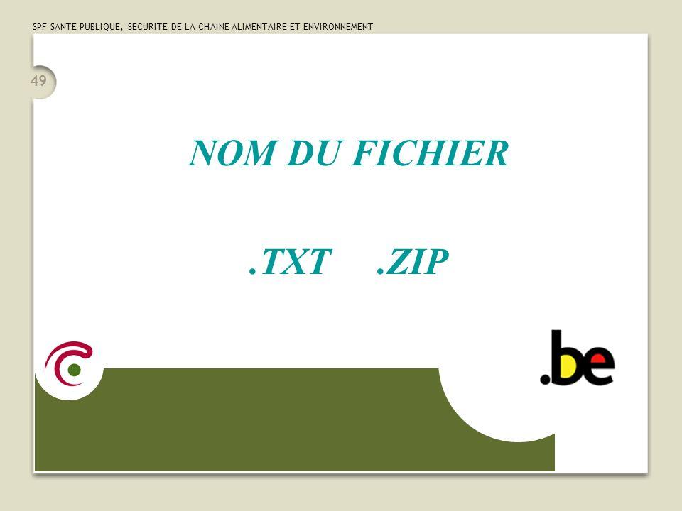 SPF SANTE PUBLIQUE, SECURITE DE LA CHAINE ALIMENTAIRE ET ENVIRONNEMENT 49 NOM DU FICHIER.TXT.ZIP