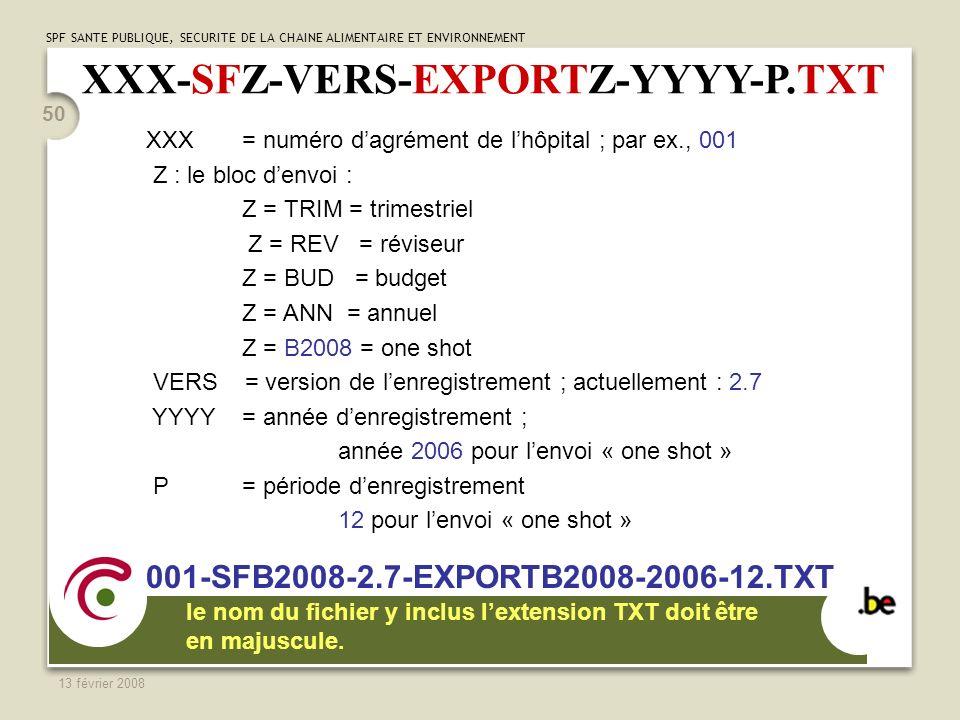 SPF SANTE PUBLIQUE, SECURITE DE LA CHAINE ALIMENTAIRE ET ENVIRONNEMENT 13 février 2008 50 XXX-SFZ-VERS-EXPORTZ-YYYY-P.TXT XXX = numéro dagrément de lhôpital ; par ex., 001 Z : le bloc denvoi : Z = TRIM = trimestriel Z = REV = réviseur Z = BUD = budget Z = ANN = annuel Z = B2008 = one shot VERS = version de lenregistrement ; actuellement : 2.7 YYYY = année denregistrement ; année 2006 pour lenvoi « one shot » P = période denregistrement 12 pour lenvoi « one shot » 001-SFB2008-2.7-EXPORTB2008-2006-12.TXT le nom du fichier y inclus lextension TXT doit être en majuscule.