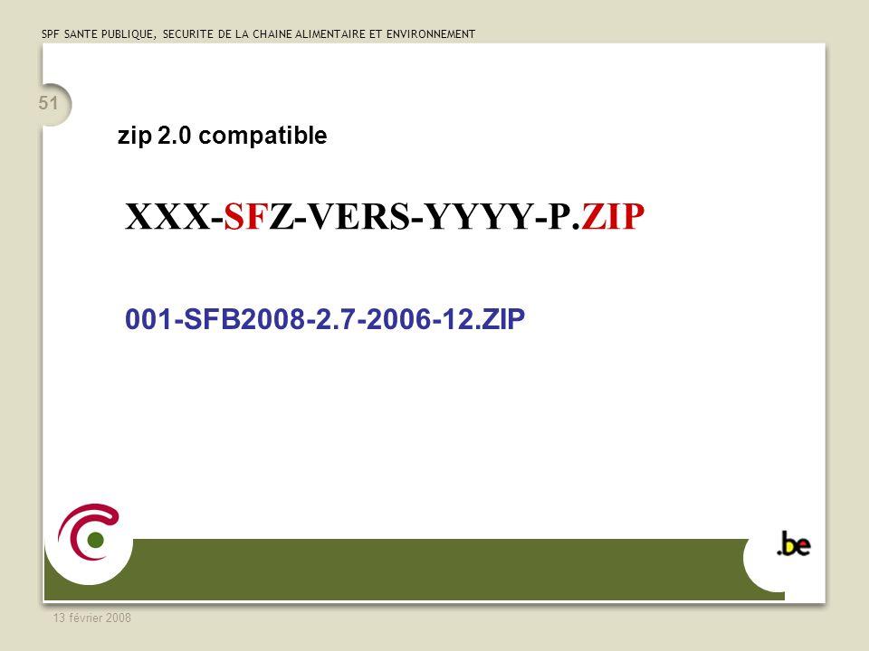 SPF SANTE PUBLIQUE, SECURITE DE LA CHAINE ALIMENTAIRE ET ENVIRONNEMENT 13 février 2008 51 XXX-SFZ-VERS-YYYY-P.ZIP 001-SFB2008-2.7-2006-12.ZIP zip 2.0 compatible