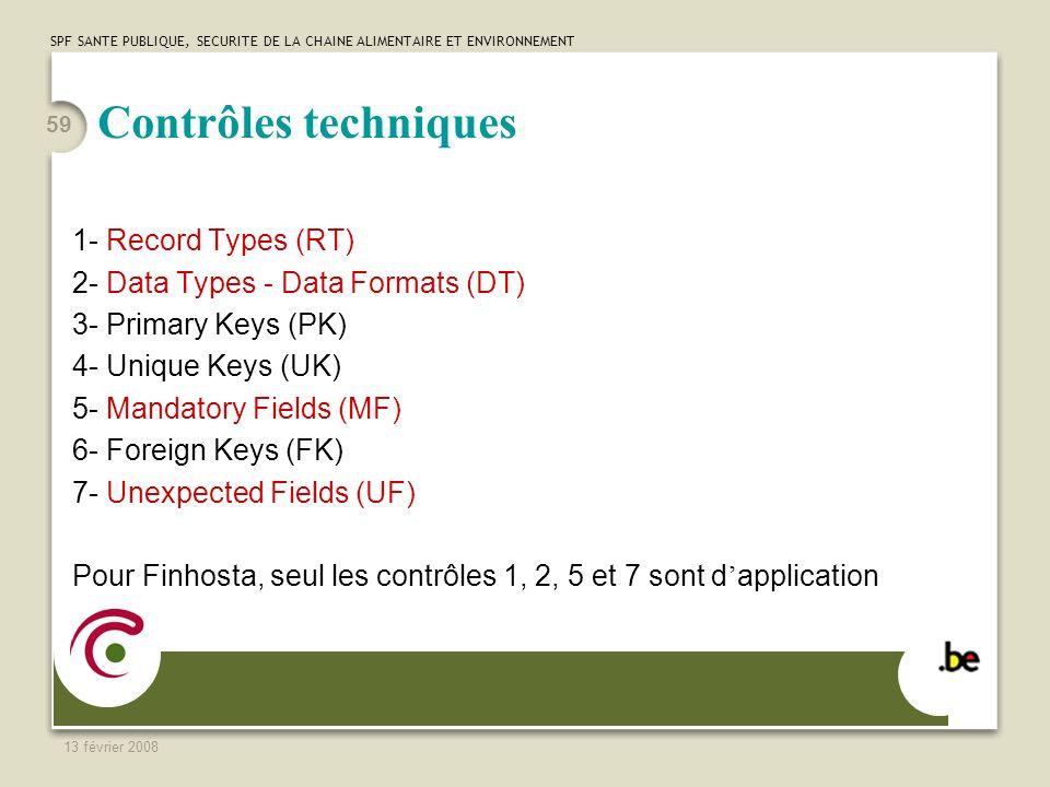 SPF SANTE PUBLIQUE, SECURITE DE LA CHAINE ALIMENTAIRE ET ENVIRONNEMENT 13 février 2008 59 Contrôles techniques 1- Record Types (RT) 2- Data Types - Data Formats (DT) 3- Primary Keys (PK) 4- Unique Keys (UK) 5- Mandatory Fields (MF) 6- Foreign Keys (FK) 7- Unexpected Fields (UF) Pour Finhosta, seul les contrôles 1, 2, 5 et 7 sont d application
