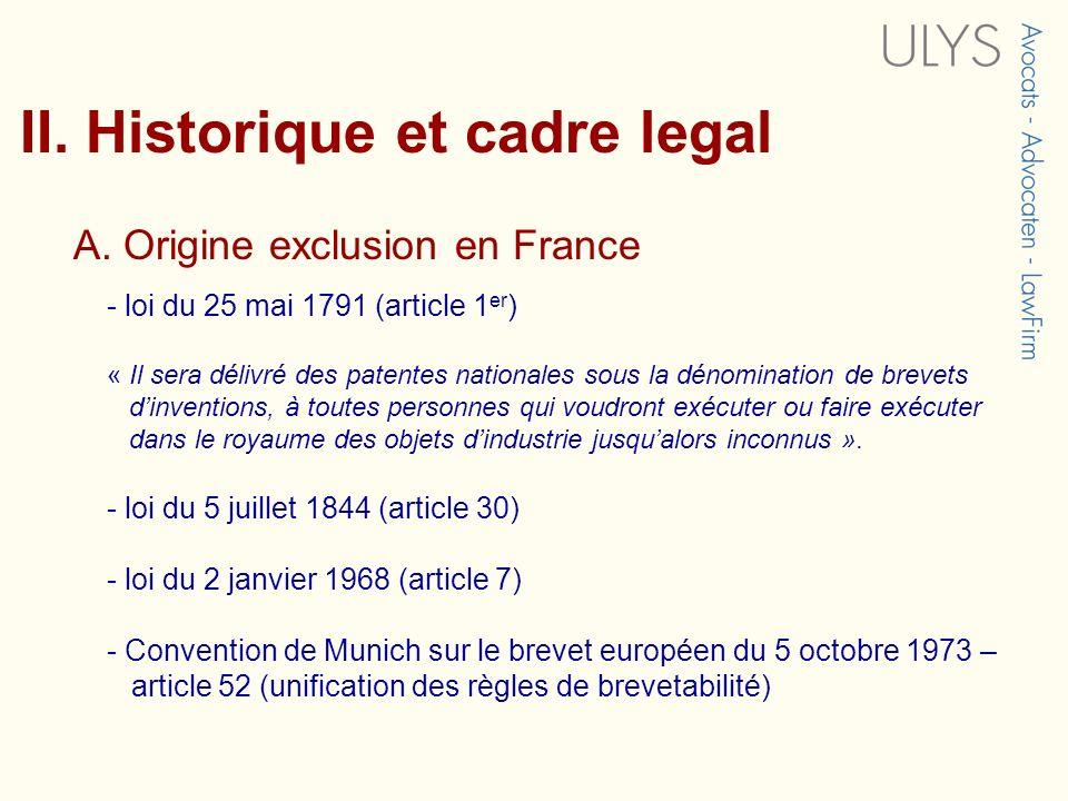 II. Historique et cadre legal A. Origine exclusion en France - loi du 25 mai 1791 (article 1 er ) « Il sera délivré des patentes nationales sous la dé