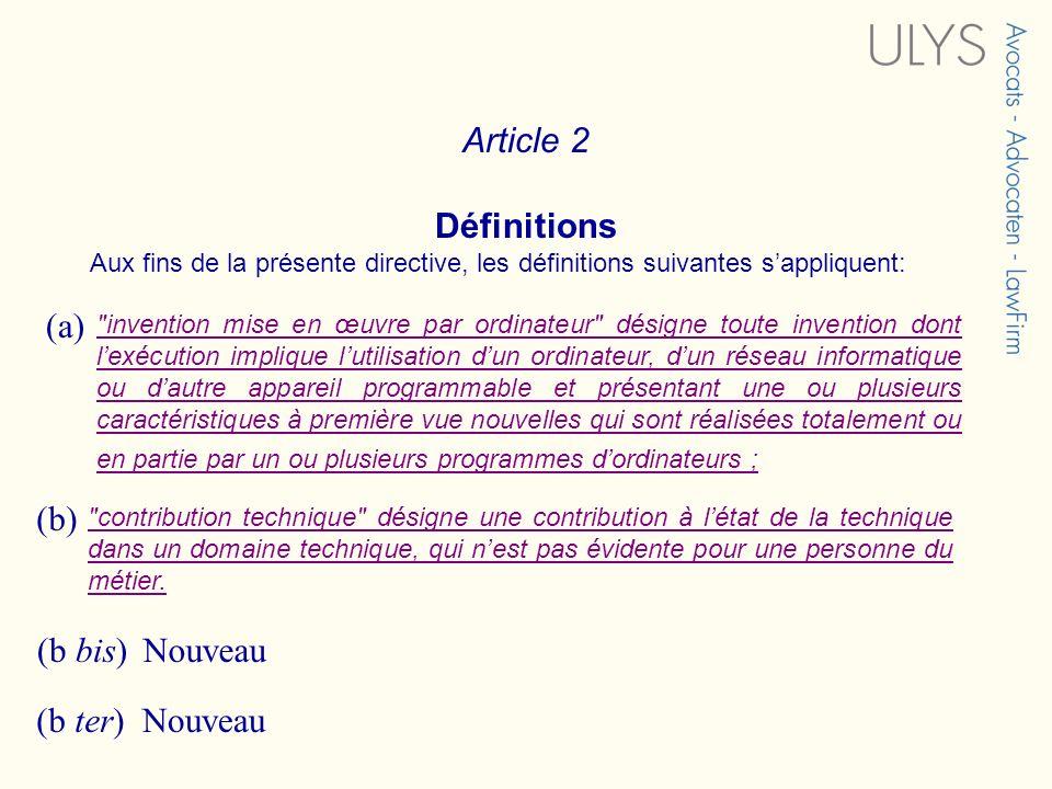 Article 2 Définitions Aux fins de la présente directive, les définitions suivantes sappliquent: