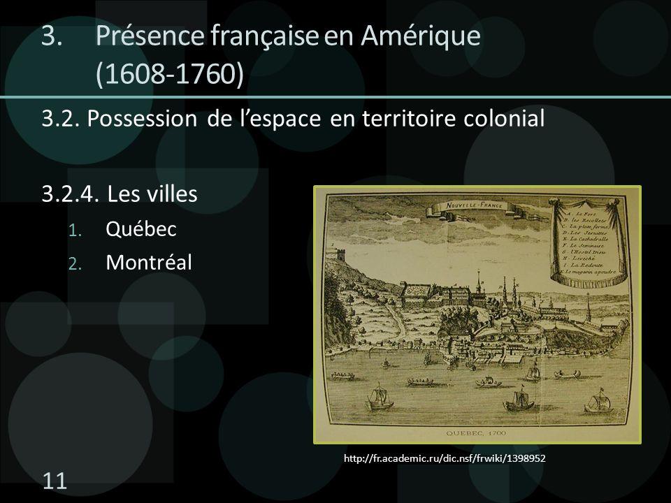 3.2. Possession de lespace en territoire colonial 3.2.4. Les villes 1. Québec 2. Montréal http://fr.academic.ru/dic.nsf/frwiki/1398952 3.Présence fran