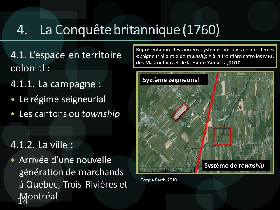 4.La Conquête britannique (1760) 4.1. Lespace en territoire colonial : 4.1.1. La campagne : Le régime seigneurial Les cantons ou township 4.1.2. La vi