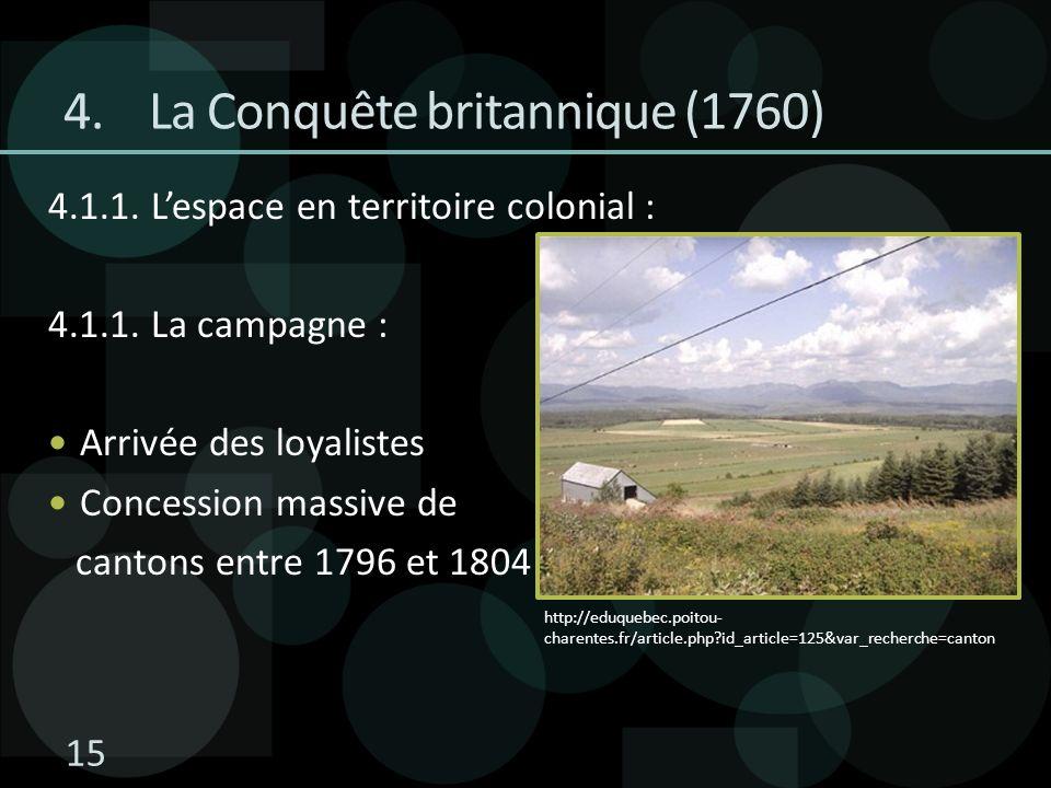 4.1.1. Lespace en territoire colonial : 4.1.1. La campagne : Arrivée des loyalistes Concession massive de cantons entre 1796 et 1804 4.La Conquête bri