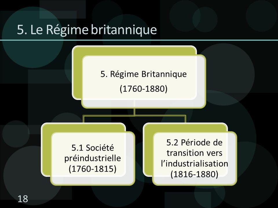 5. Le Régime britannique 5. Régime Britannique (1760-1880) 5.1 Société préindustrielle (1760-1815) 5.2 Période de transition vers lindustrialisation (