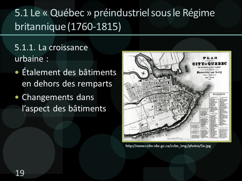 5.1 Le « Québec » préindustriel sous le Régime britannique (1760-1815) 5.1.1. La croissance urbaine : Étalement des bâtiments en dehors des remparts C