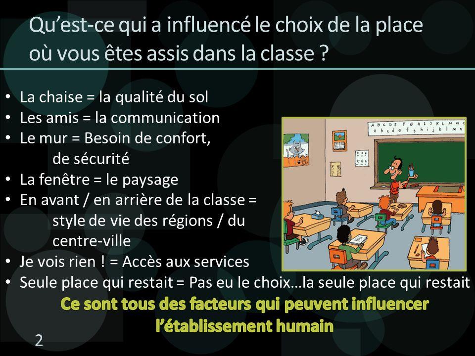 2 Quest-ce qui a influencé le choix de la place où vous êtes assis dans la classe ?