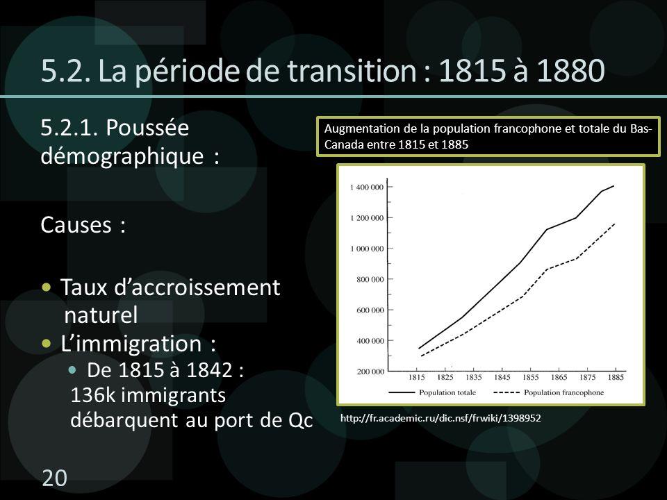 5.2. La période de transition : 1815 à 1880 5.2.1. Poussée démographique : Causes : Taux daccroissement naturel Limmigration : De 1815 à 1842 : 136k i