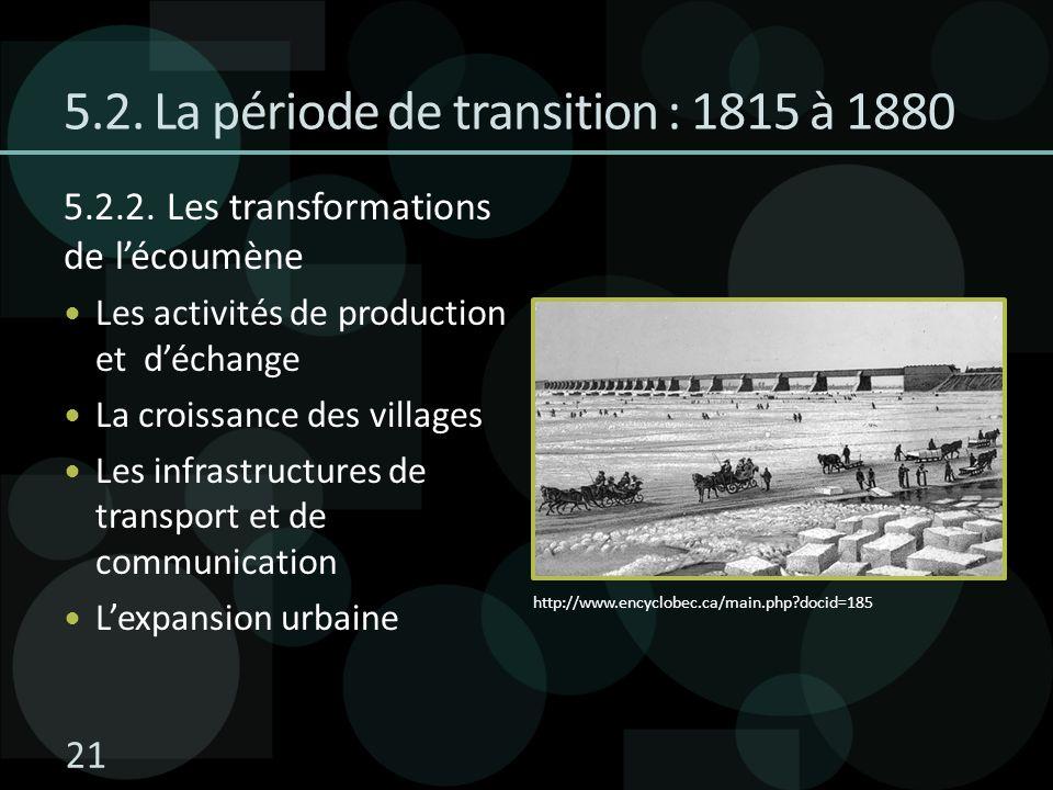 5.2. La période de transition : 1815 à 1880 5.2.2. Les transformations de lécoumène Les activités de production et déchange La croissance des villages