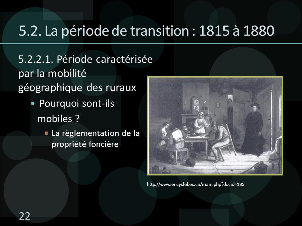 5.2. La période de transition : 1815 à 1880 5.2.2.1. Période caractérisée par la mobilité géographique des ruraux Pourquoi sont-ils mobiles ? La règle