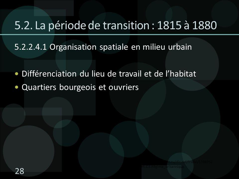 5.2. La période de transition : 1815 à 1880 5.2.2.4.1 Organisation spatiale en milieu urbain Différenciation du lieu de travail et de lhabitat Quartie