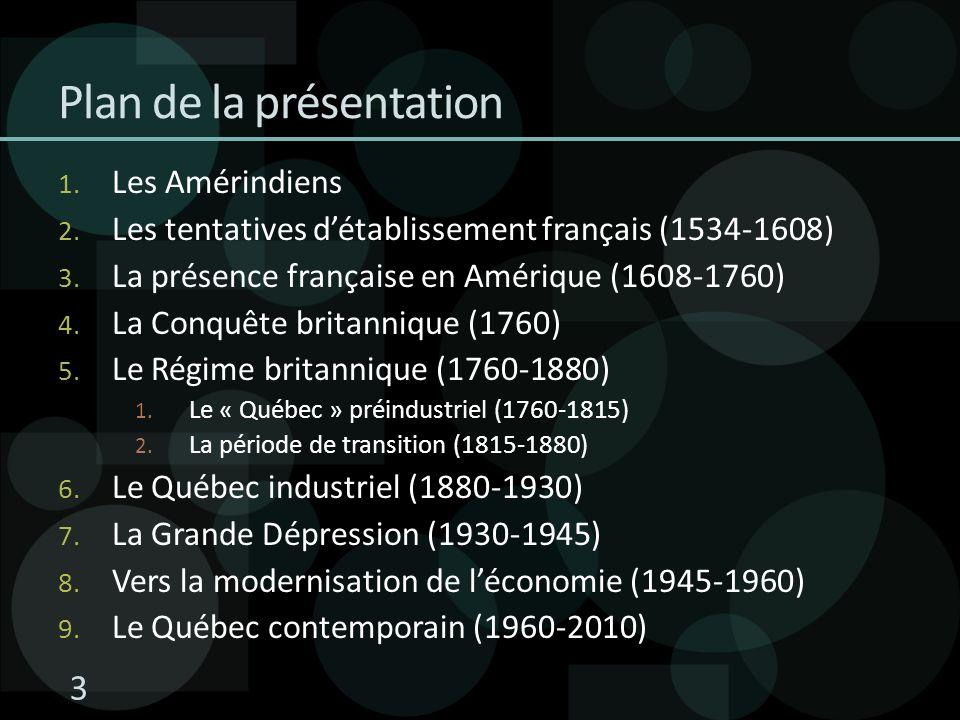 Plan de la présentation 1. Les Amérindiens 2. Les tentatives détablissement français (1534-1608) 3. La présence française en Amérique (1608-1760) 4. L