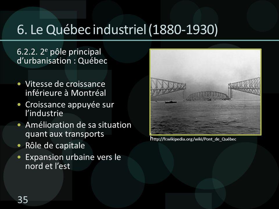 6. Le Québec industriel (1880-1930) 6.2.2. 2 e pôle principal durbanisation : Québec Vitesse de croissance inférieure à Montréal Croissance appuyée su