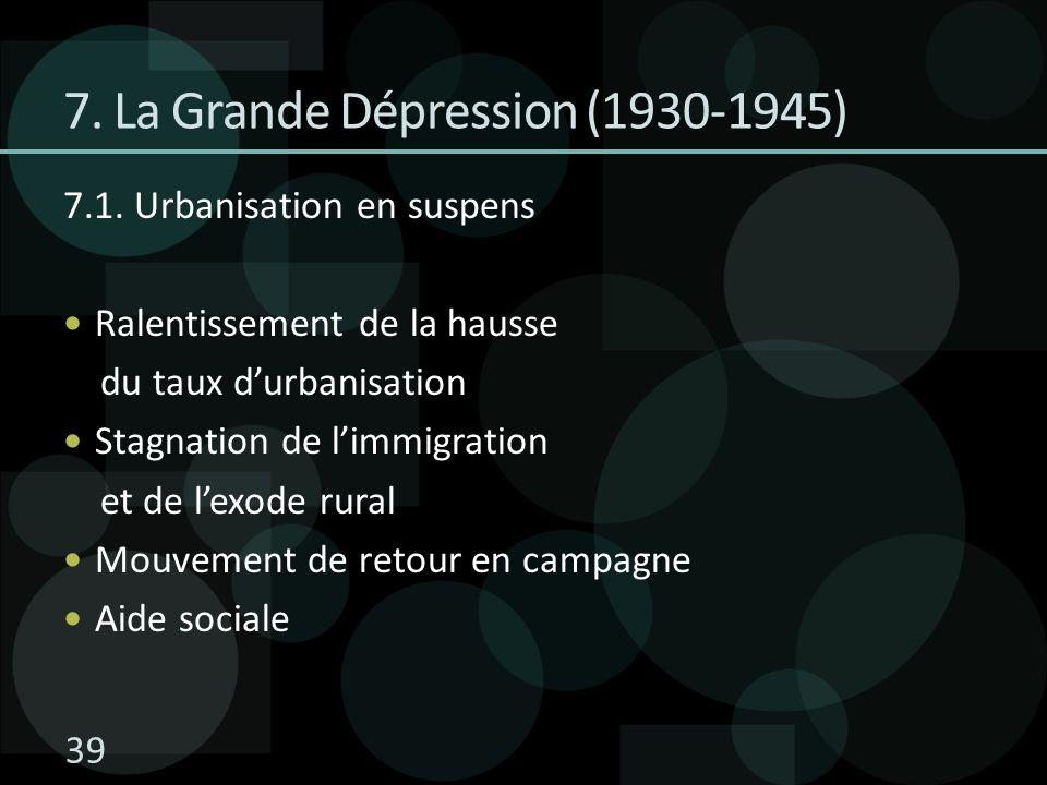 7.1. Urbanisation en suspens Ralentissement de la hausse du taux durbanisation Stagnation de limmigration et de lexode rural Mouvement de retour en ca