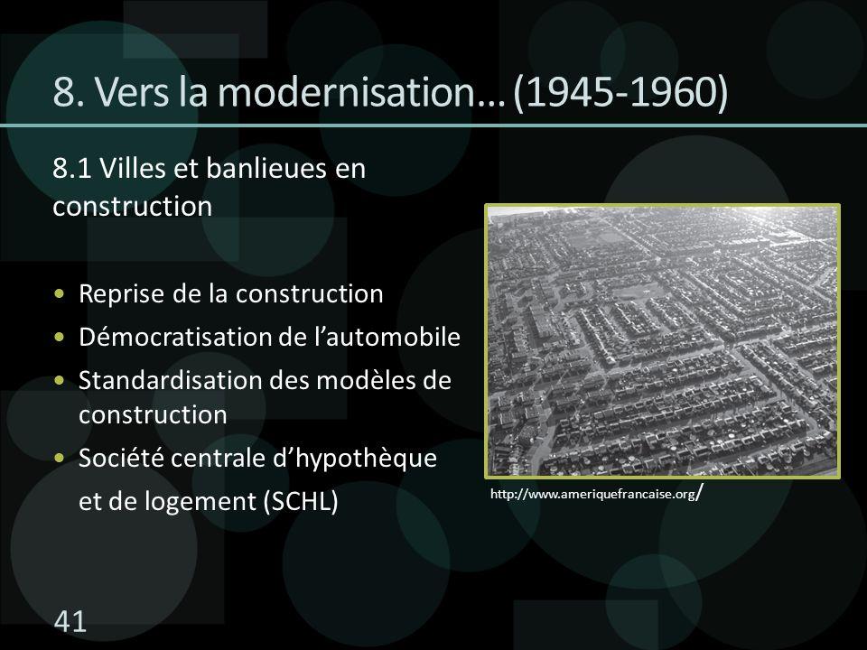 8.1 Villes et banlieues en construction Reprise de la construction Démocratisation de lautomobile Standardisation des modèles de construction Société centrale dhypothèque et de logement (SCHL) 8.