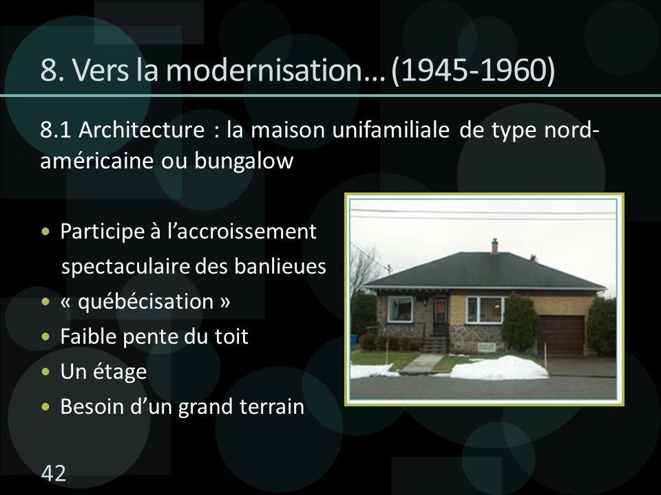 8.1 Architecture : la maison unifamiliale de type nord- américaine ou bungalow Participe à laccroissement spectaculaire des banlieues « québécisation » Faible pente du toit Un étage Besoin dun grand terrain 8.