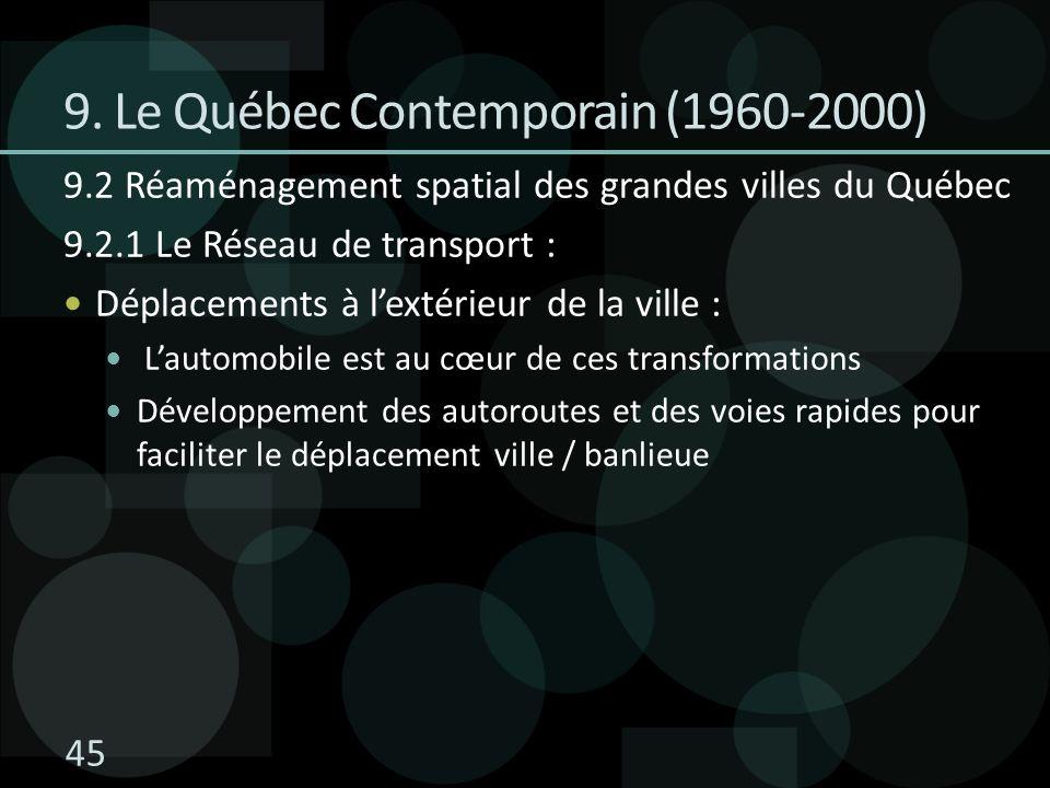 9.2 Réaménagement spatial des grandes villes du Québec 9.2.1 Le Réseau de transport : Déplacements à lextérieur de la ville : Lautomobile est au cœur de ces transformations Développement des autoroutes et des voies rapides pour faciliter le déplacement ville / banlieue 9.