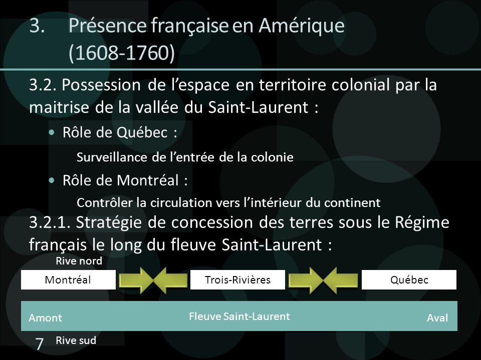Fleuve Saint-Laurent 3.2. Possession de lespace en territoire colonial par la maitrise de la vallée du Saint-Laurent : Rôle de Québec : Surveillance d