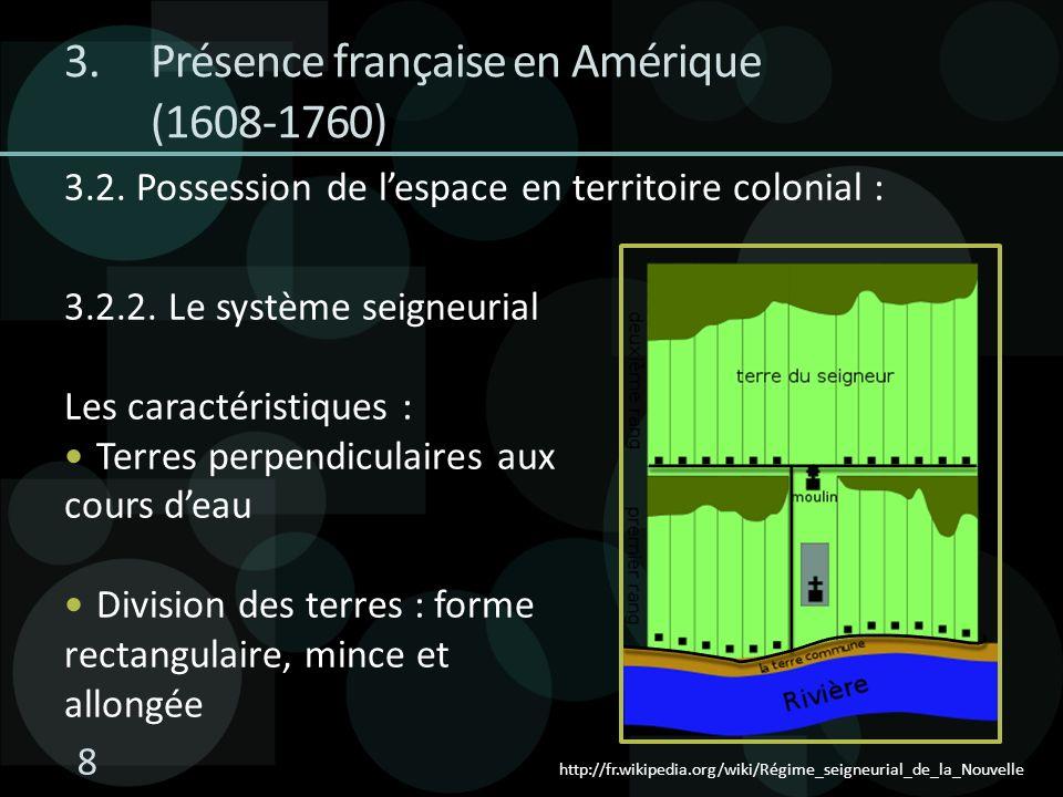 3.2. Possession de lespace en territoire colonial : 3.2.2. Le système seigneurial Les caractéristiques : Terres perpendiculaires aux cours deau Divisi