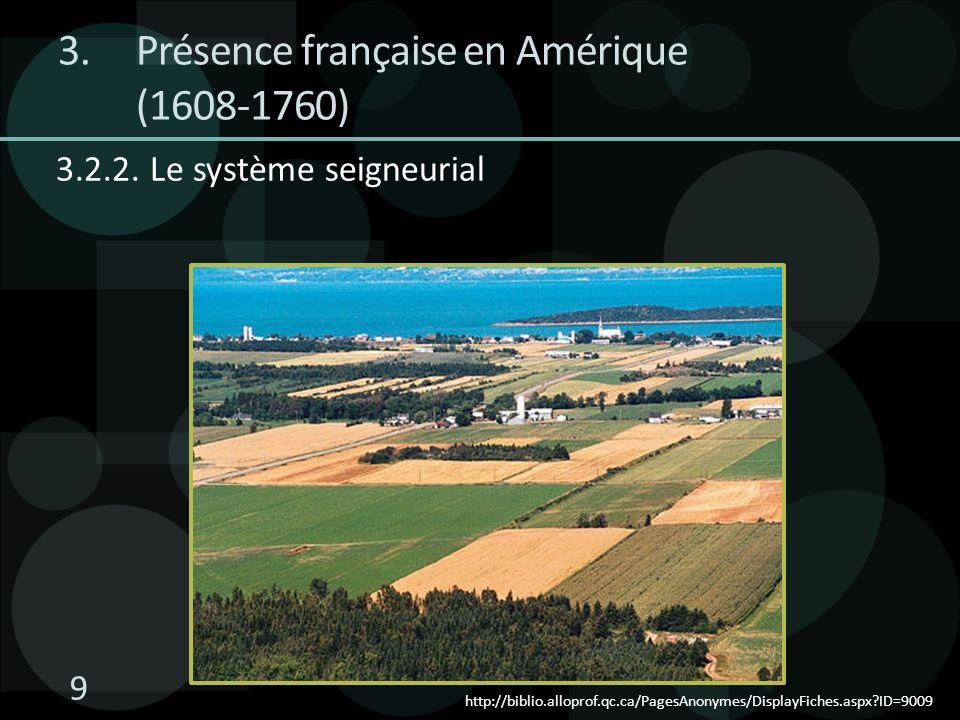 3.2.2. Le système seigneurial http://biblio.alloprof.qc.ca/PagesAnonymes/DisplayFiches.aspx?ID=9009 3.Présence française en Amérique (1608-1760) 9