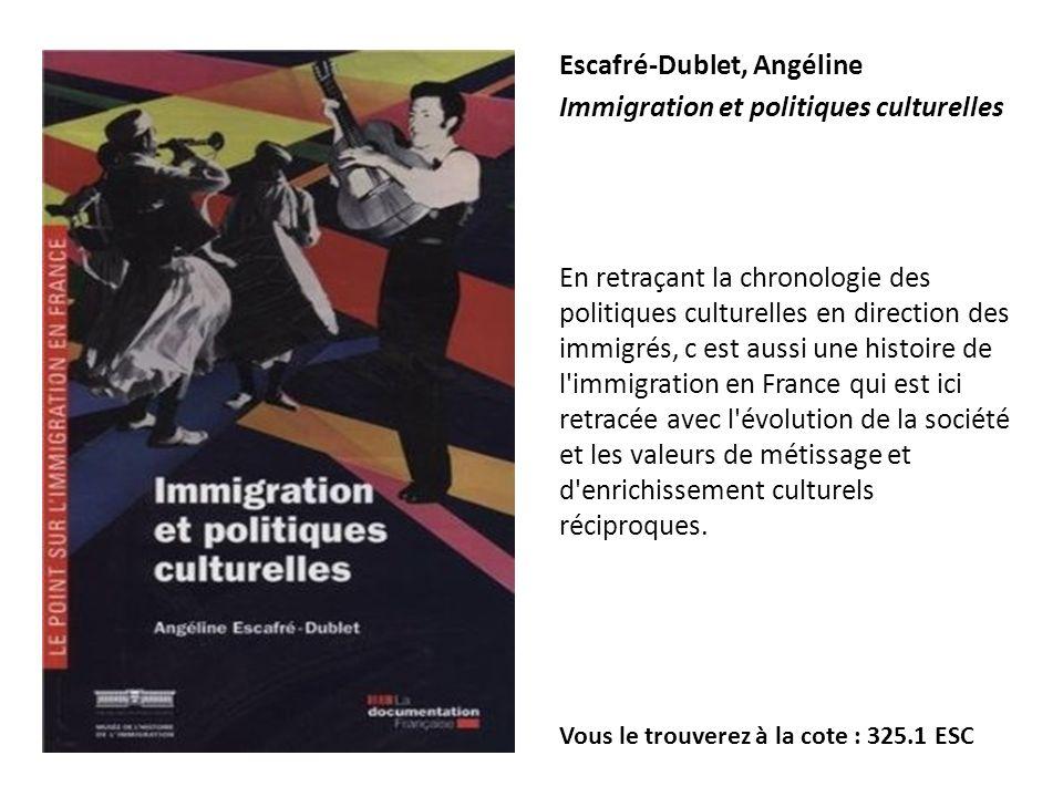 Escafré-Dublet, Angéline Immigration et politiques culturelles En retraçant la chronologie des politiques culturelles en direction des immigrés, c est