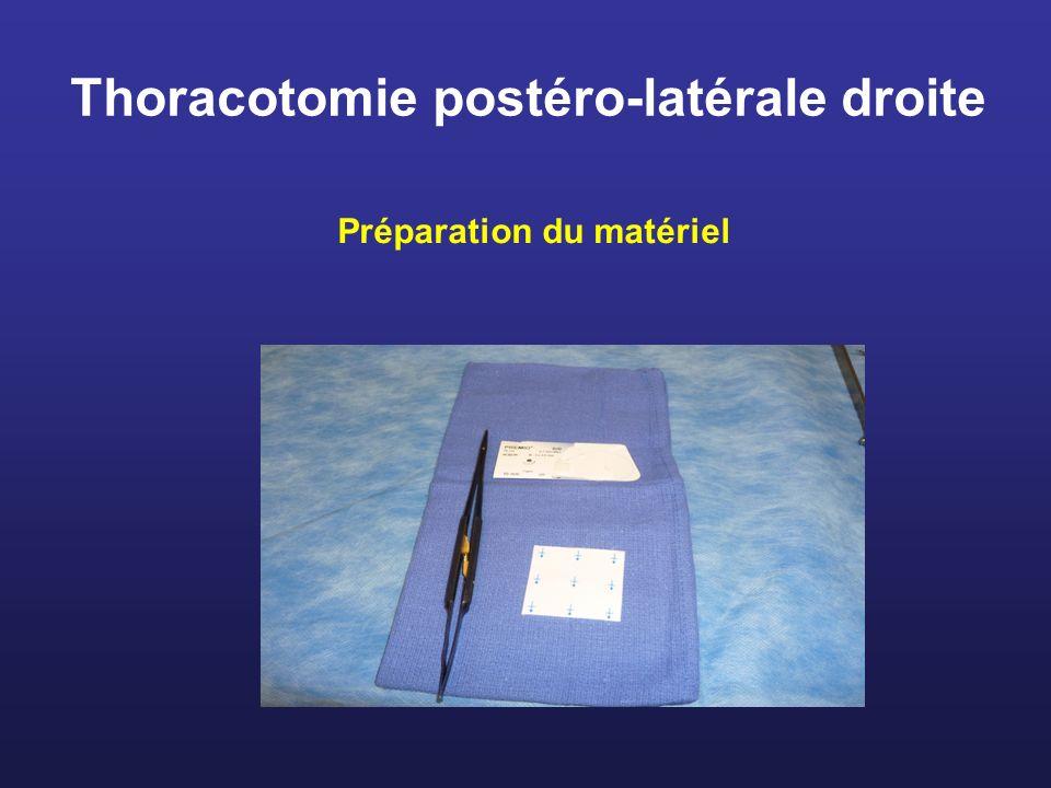 Thoracotomie postéro-latérale droite Préparation du matériel