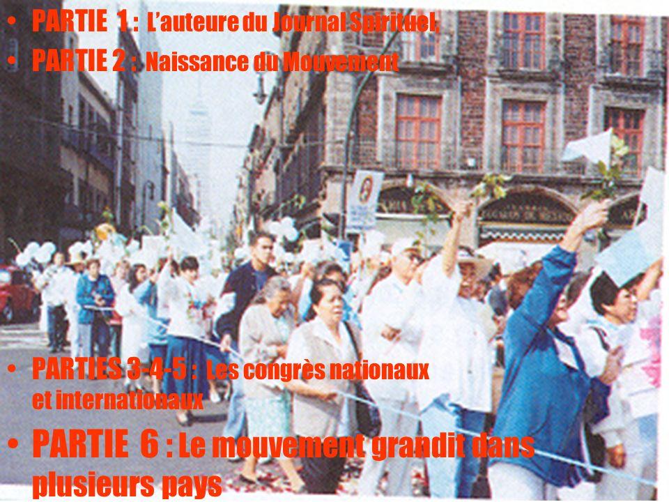 2 PARTIE 1 : Lauteure du Journal Spirituel, PARTIE 2 : Naissance du Mouvement PARTIES 3-4-5 : Les congrès nationaux et internationaux PARTIE 6 : Le mo
