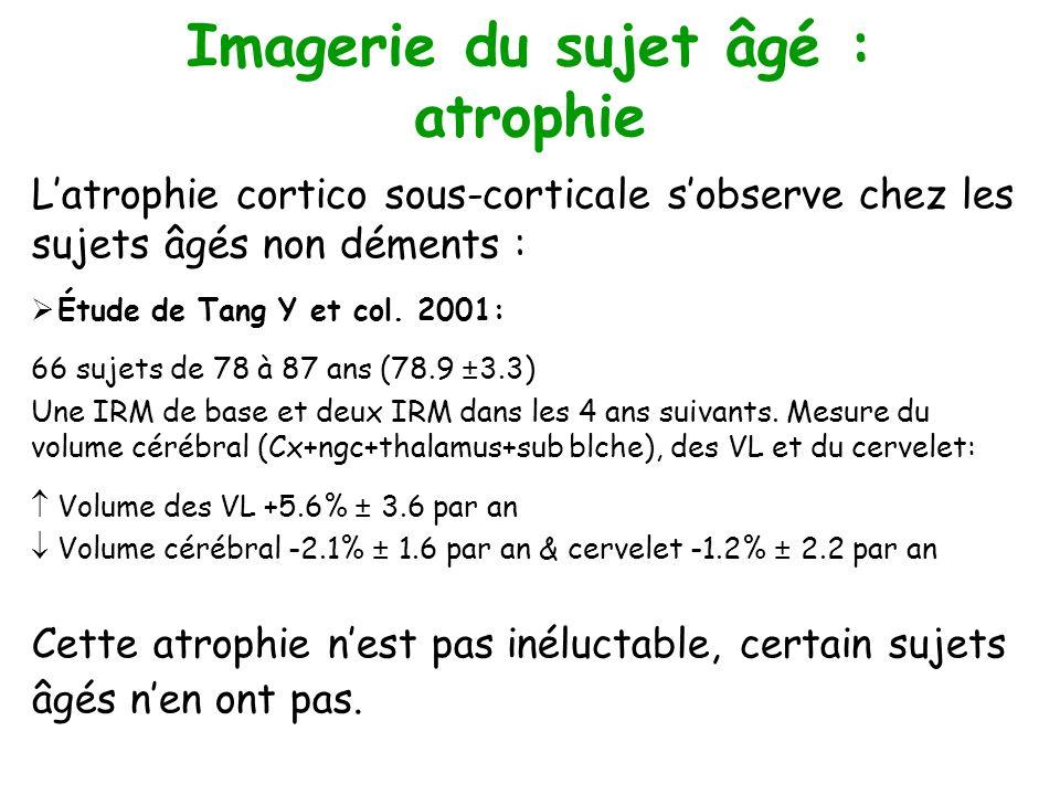 Imagerie du sujet âgé : atrophie Latrophie cortico sous-corticale sobserve chez les sujets âgés non déments : Étude de Tang Y et col. 2001: 66 sujets